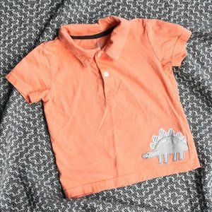 Peach Dino Polo Size 12-18M